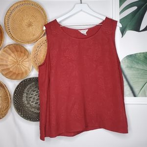 Citron SM Silk Red Floral Embossed Boho Tank 1X